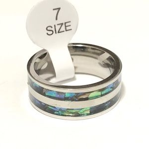Silver Tone Ring, with Abalone Shell inlay, Size 7